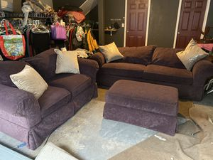 Trendy purple loveseat and sofa with ottoman ( DELIVERY INCLUDED) for Sale in Beaverton, OR
