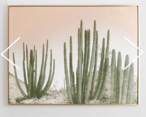 World market cactus art cost plus wall cactus gold frame for Sale in Burbank, CA