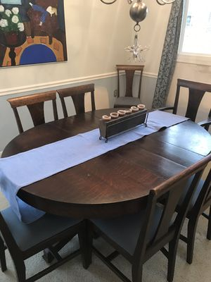"Antique oak table with 8 chairs expand to 76"" table with 3 leafs for Sale in Reston, VA"