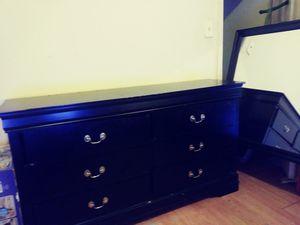 Black dresser/mirror for Sale in Baltimore, MD