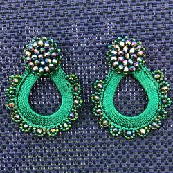Green earrings made with beads. for Sale in Miami,  FL