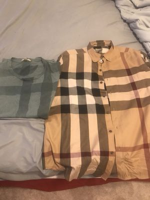 Burberry tee and plaid button up shirts for Sale in Glen Burnie, MD