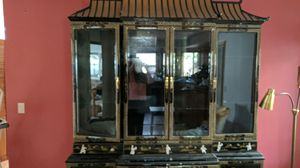 Mid Century chinoiserie Chinese Asian style display china cabinet for Sale in Portland, OR