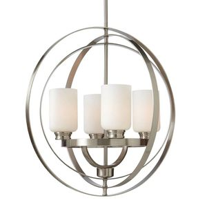 HDC-24 in. 4-Light Brushed Nickel Chandelier with Etched White Glass Shades for Sale in Dallas, TX
