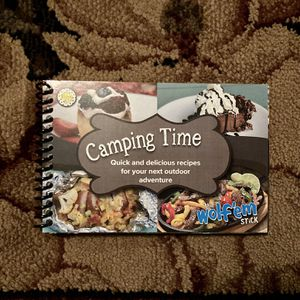 Camping time quick and delicious recipes spiral camping recipe cookbook by Lemom Poppyseed Inc using the Wolf em stick for Sale in Gilbert, AZ