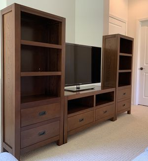 Walnut Media Console/TV Stand and Bookshelves for Sale in Rancho Palos Verdes, CA