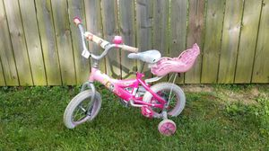 "12"" girl's princess bike with baby doll carrier for Sale in Reynoldsburg, OH"