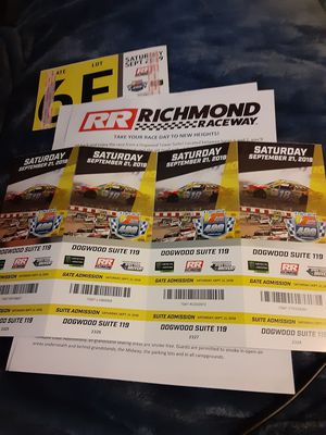 4 RIR NASCAR Cup Race Dogwood Suite Tickets & Parking Pass for Sale in Henrico, VA