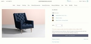 Anthropologie Navy Tufted Armchair for Sale in Portland, OR