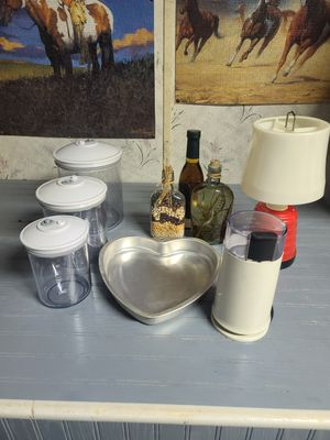 Canisters Coffeee Grinder. Heart Pan, 12 volt Light, Bottles for Sale in Elizabethtown, PA