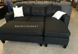 """Black sectional sofa with ottoman convertible sleeper couch 81x60 """" for Sale in Buena Park, CA"""