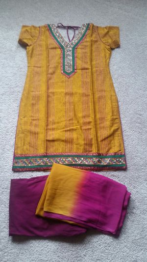 Yellow and Magenta Dress,Festive Dress,Diwali Dress,Kurti with Leggings and Dupatta for Sale in Frisco, TX