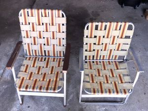 Vintage Metal Camping, Cabin, RV, Lake House, Beach Folding Chair, Plaid Nylon Chairs for Sale in Wixom, MI