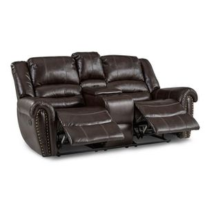 Center Hill Brown Bonded Leahjther Reclining Loveseat for Sale in Fairfax, VA