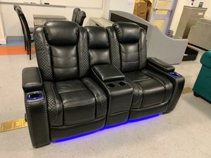 İn stock🍀SAME DAY DELİVERY🍀EXCLUSIVE] Party Time Midnight LED Power Reclining Living Room Set with Adjustable Headrest for Sale in Columbia, MD