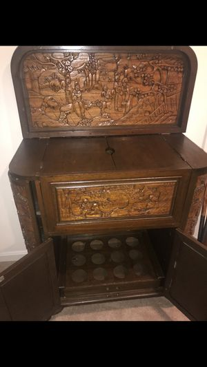 Antique Hand Carved Chinese Bar Cabinent for Sale in Oakton, VA