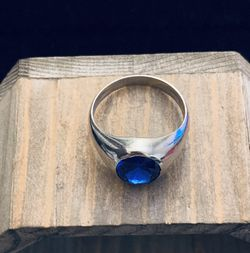PLATA /UNISEX /BLUE/ 925 STERLING SILVER RING/ SIZE 9 for Sale in Whittier,  CA