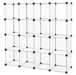 SONGMICS Cube Storage, Plastic Cube Organizer Units, DIY Modular Closet Cabinet, Bookcase Included Anti-Toppling Fittings and Rubber Hammer White Tra for Sale in San Gabriel, CA