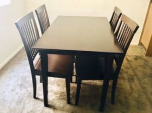 """Kitchen table with 4 chairs; dimensions 29""""x47"""". In pretty good condition. Color same as of chair. Polish still good. 20244 N 31st Ave Phoenix for Sale in Phoenix, AZ"""