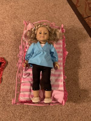 American Girl Doll, bed, dog, bag, outfits, and accessories for Sale in Alexandria, VA