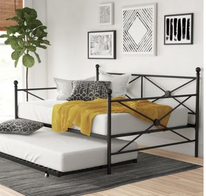 Black metal daybed full with twin trundle new in box with 2 mattress as shown brand new for Sale in Las Vegas, NV
