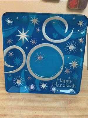 Disney happy hanukkah blue silver glass plate for Sale in Montclair, CA