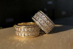 Mens Iced Out 5 Layer 12mm Double Band Wedding Band Eternity Pinky Ring Size7-12 for Sale in Washington, DC
