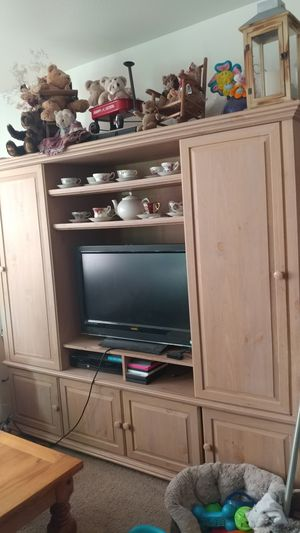 Lg whitewashed entertainment center for Sale in Arlington, WA