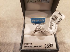 1/2 Carat Diamond Ring 10kt White Gold Brand New! Never Worn Size 8 for Sale in Charles Town, WV
