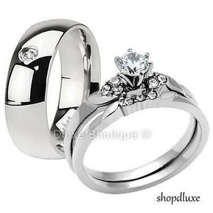 3 PIECE MEN'S WOMEN'S STAINLESS STEEL WEDDING ENGAGEMENT RING BAND SET for Sale in Los Angeles, CA