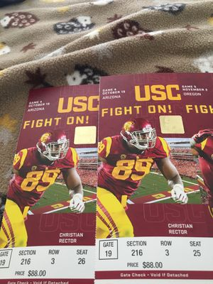 October 19th USC vs Arizona Football Tickets for Sale in Upland, CA