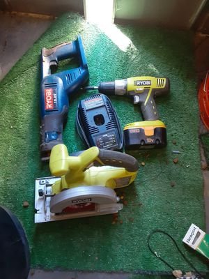 18 v ryobi drill and sawzall and circular saw with charger and battery for Sale in Rialto, CA