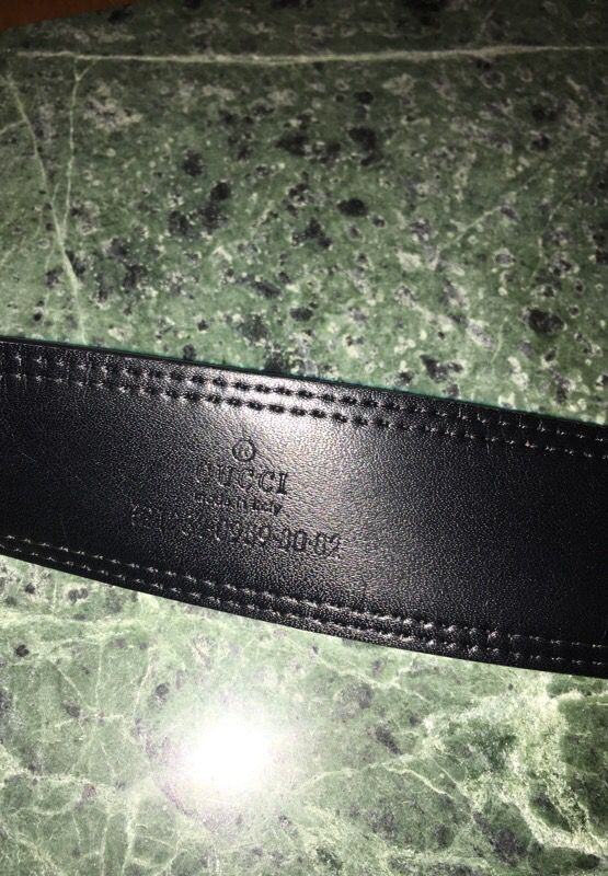 cc862750198 GUCCI Black Leather Green Red Stripe Italy BELT 121282-0959-80-82 ...