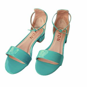 size 8 YDN Womens Chic Block Low Heel Sandals Open Toe Ankle Strap Patent Comfortable Walking Dress Flat Shoes for Sale in Las Vegas, NV