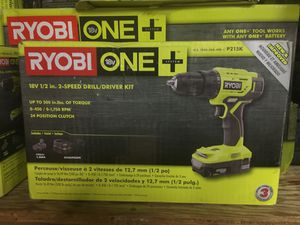 RYOBI 18-Volt ONE+ Lithium-Ion Cordless 1/2 in. Drill/Driver Kit with (1) 1.5 Ah Battery and 18-Volt Charger for Sale in Fontana, CA