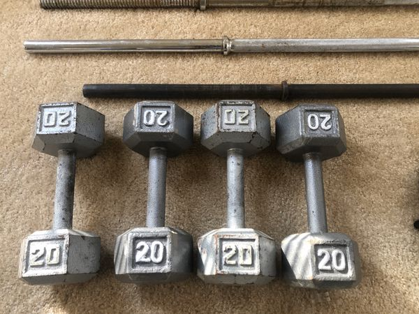 Fitness Gear 3 weight bars, 40lbs weights and 80lbs dumbbells
