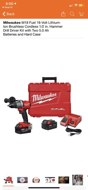 Milwaukee M18 Fuel 18-Volt Lithium-Ion Brushless Cordless 1/2 in. Hammer Drill Driver Kit with Two 5.0 Ah Batteries and Hard Case for Sale in San Dimas, CA