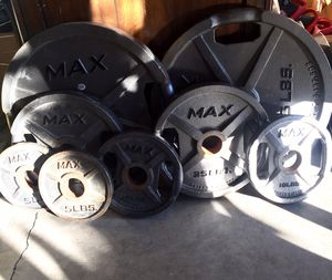 Bench set with Olympic weight equipment for Sale in Mercer Island, WA