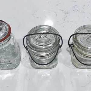 BEAUTIFUL VINTAGE APOTHECARY STYLE JARS WITH DETACHABLE LIDS (3). IN GOOD CONDITION for Sale in San Marcos, CA