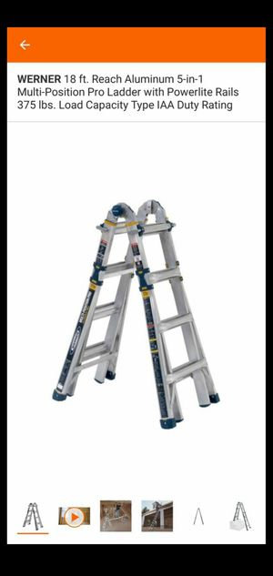 WERNER 18 FT REACH ALUMINUM 5 IN 1 MULTI POSITION PRO LADDER WITH POWERLITE RAILS 375 LBS LOAD CAPACITY TYPE IAA DUTY RATING for Sale in San Bernardino, CA