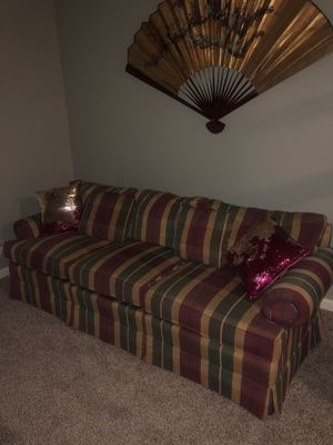 Couch with the sequin pillows $100 or best offer Moving Out Of State Can't Bring for Sale in Houston, TX