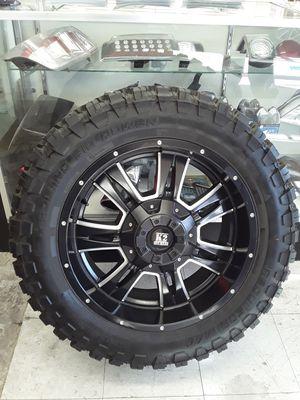 "20"" chevy Silverado Wheels Dodge Ram F150 Rims Off-Road 33"" high Mud-Terrain M/T tires setof4 for Sale in Los Angeles, CA"