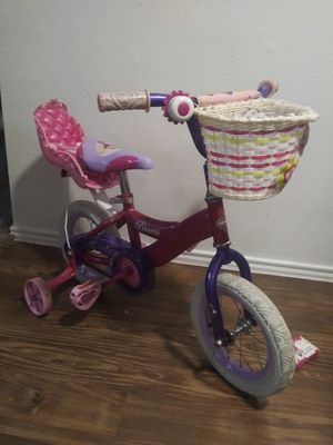 """sney Princess 12"""" Girls' Pink Bike with Doll Carrier, by Huffy for Sale in Pasadena, TX"""