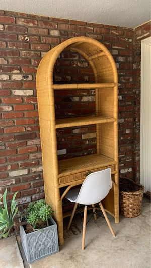 Tall wicker shelf desk boho rattan plant patio furniture for Sale in Orange, CA