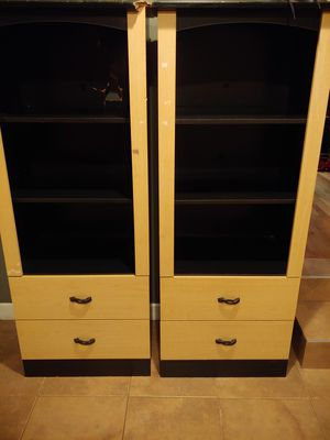 Set of tall book cases with deep drawers & shelves for Sale in Bowie, MD
