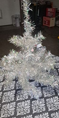 Free Tabletop Silver Christmas Tree With Light for Sale in Stow,  OH