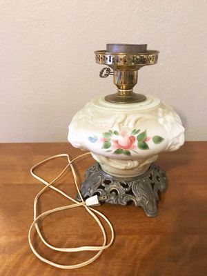 Vintage Lions Head Hurricane Lamp With Hand Painted Flowers for Sale in Fort Worth, TX