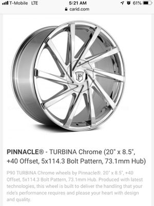 "Pinnacle 20"" Chrome Rims for Sale in Boston, MA"