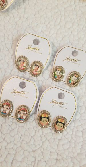 Frida kahlo earrings with diamonds for Sale in Perris, CA
