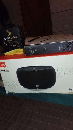 Jbl link 300 speaker, wireless headphones, sprint drive mobile hotspot/vehicle tracker for Sale in Spring Valley, CA
